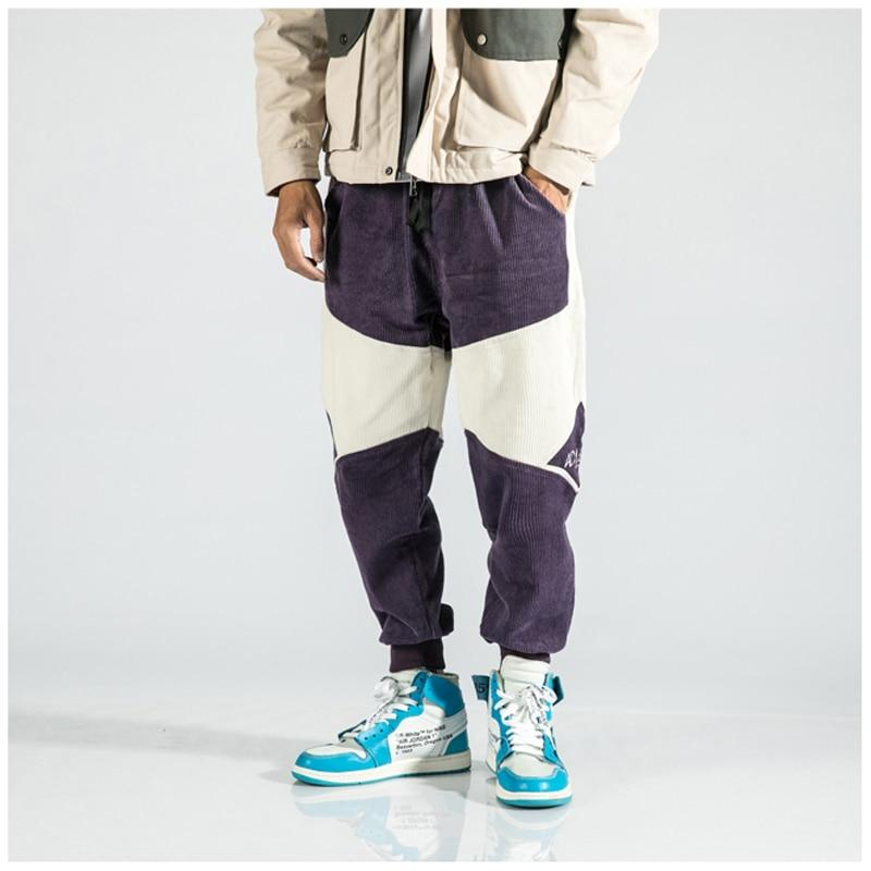 New Fashion Patchwork Embroidery Corduroy Fashion Men's Jogger Harem Pants
