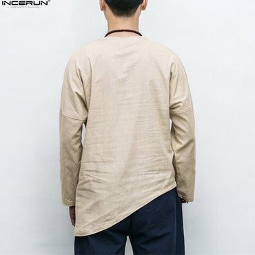 Best Seller Men's Long Sleeve Solid Cotton Linen Shirt