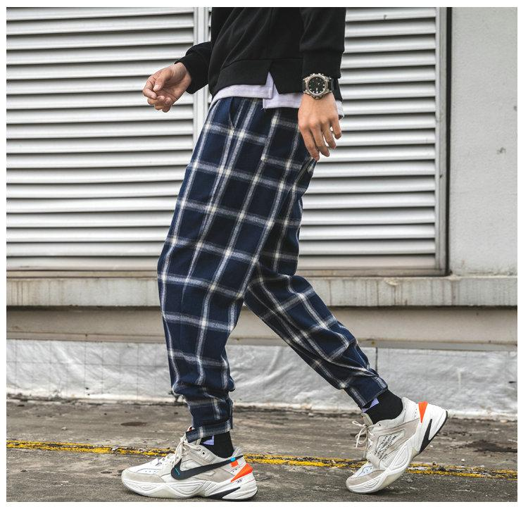 Men's Plaid Streetwear Cotton Blended Hip Hop Joggers Pants