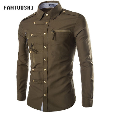 Men Fashion Epaulet Double Pocket Long Sleeve Shirt