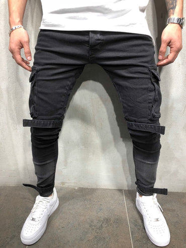 New Arrival Men Jeans With Cargo Pockets Slim Supper Skinny