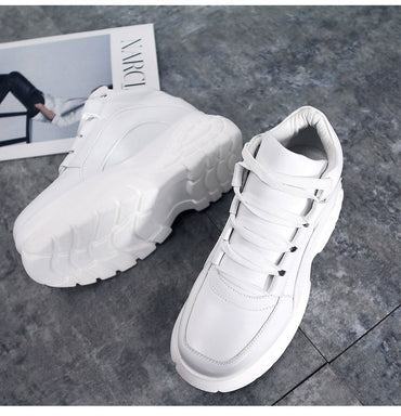 Fashion White Women Platform Sneakers  Leather Sports Shoes