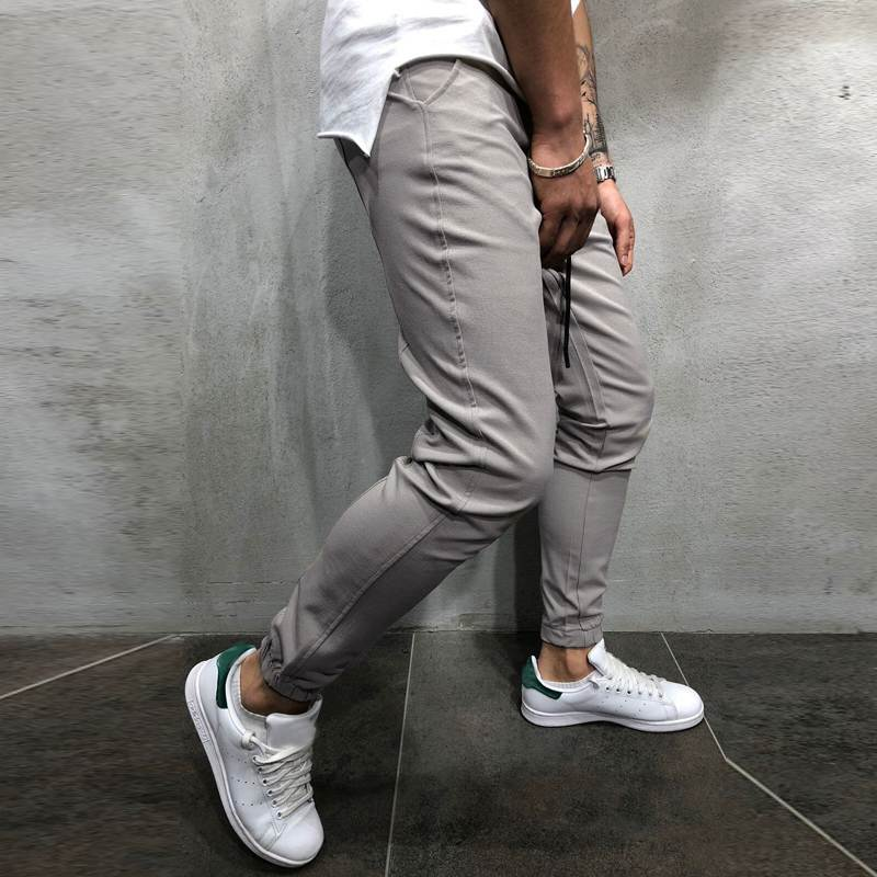 Hot Fashion Men Casual  Solid Elastic Waist Joggers Pants