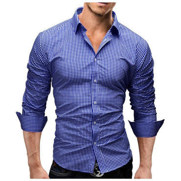 Men Long Sleeve Slim Fit Fashion Plaid Chemise Dress Shirt