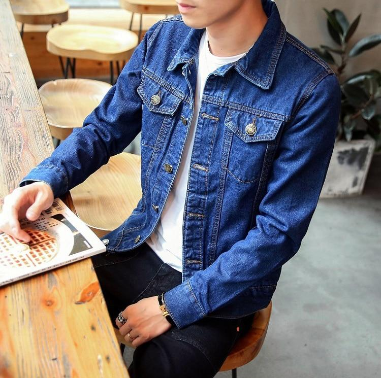 Men Denim Jacket Trendy Fashion Bomber Thin Ripped Cowboy Jean Jacket