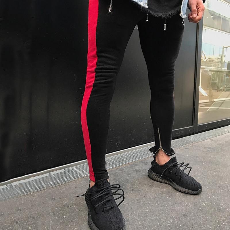 High Streetwear Men Side Stripe Bottom Zipper Drawstring Sweatpants