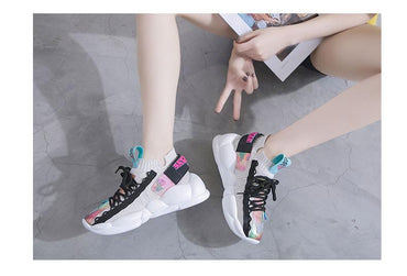 Women Flat Platform Shoes Fashion Lace-Up Sneakers