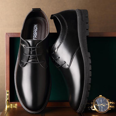 Men Dress Shoes Leather Solid Fashion Round Toe Lace-Up Oxford Shoes