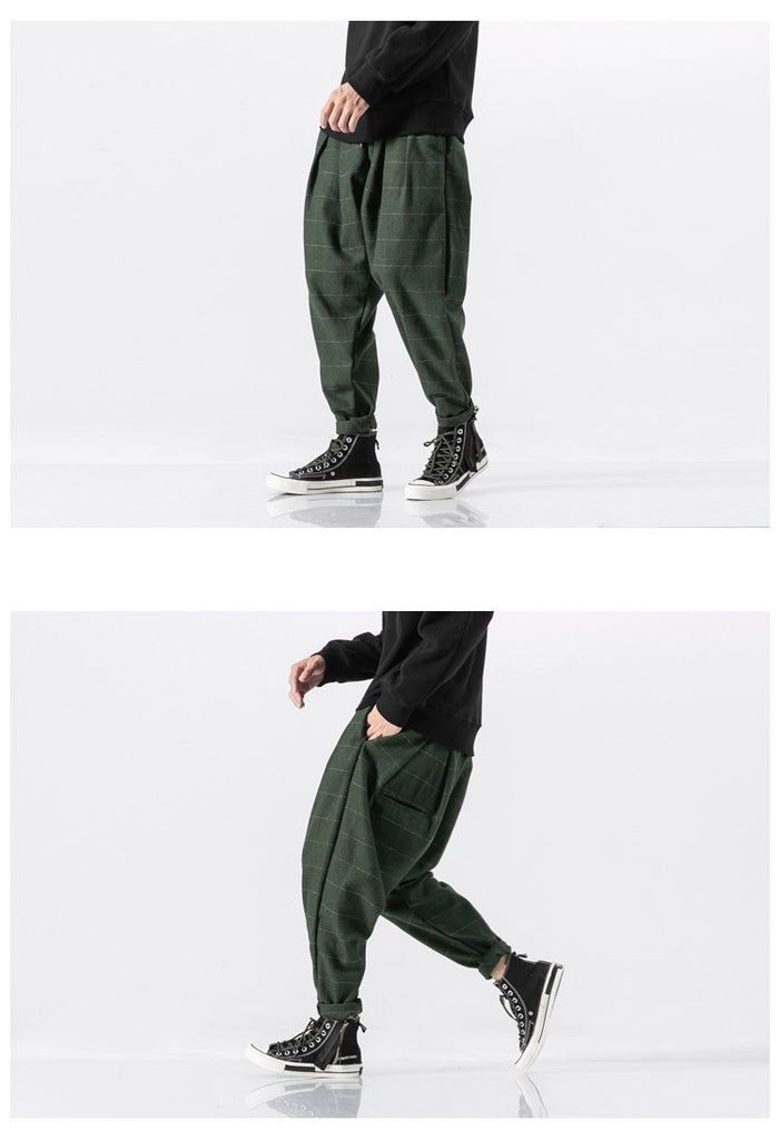 Men Harem Pants Thick Warm Woolen Casual Plaid Loose Fashion Streetwear Pants
