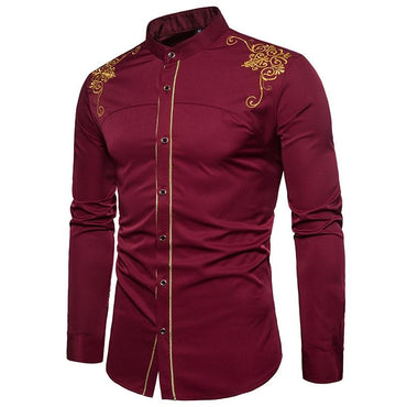 Luxury Design Men's Casual Long Sleeved Embroidery Pattern Cotton Shirt