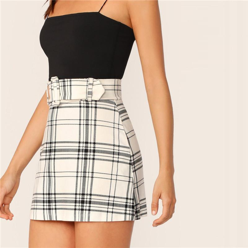 Buckle Belted Plaid Preppy High Waist Mini Skirt