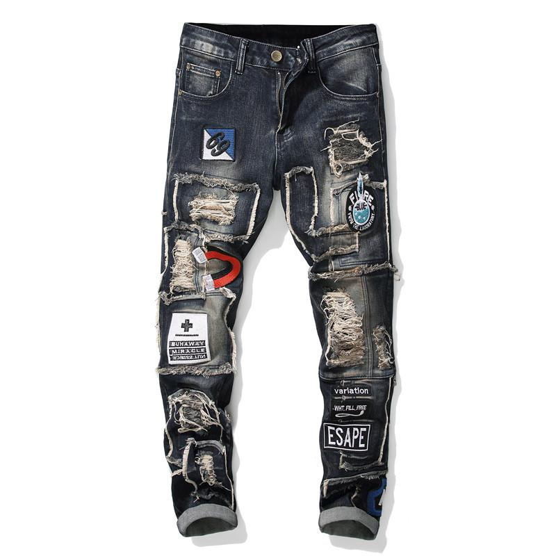 Men Ripped Jeans Patchwork Embroidered Stretch Cool Fashion Jeans