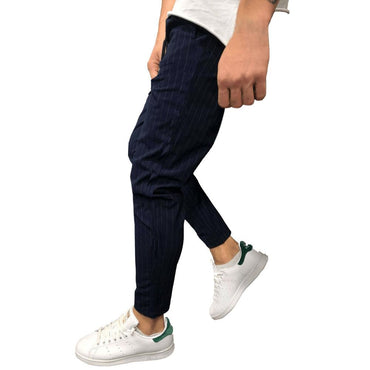 Hot Fashion Style Men's Casual Solid Loose Stripe Pocket Joggers Pants