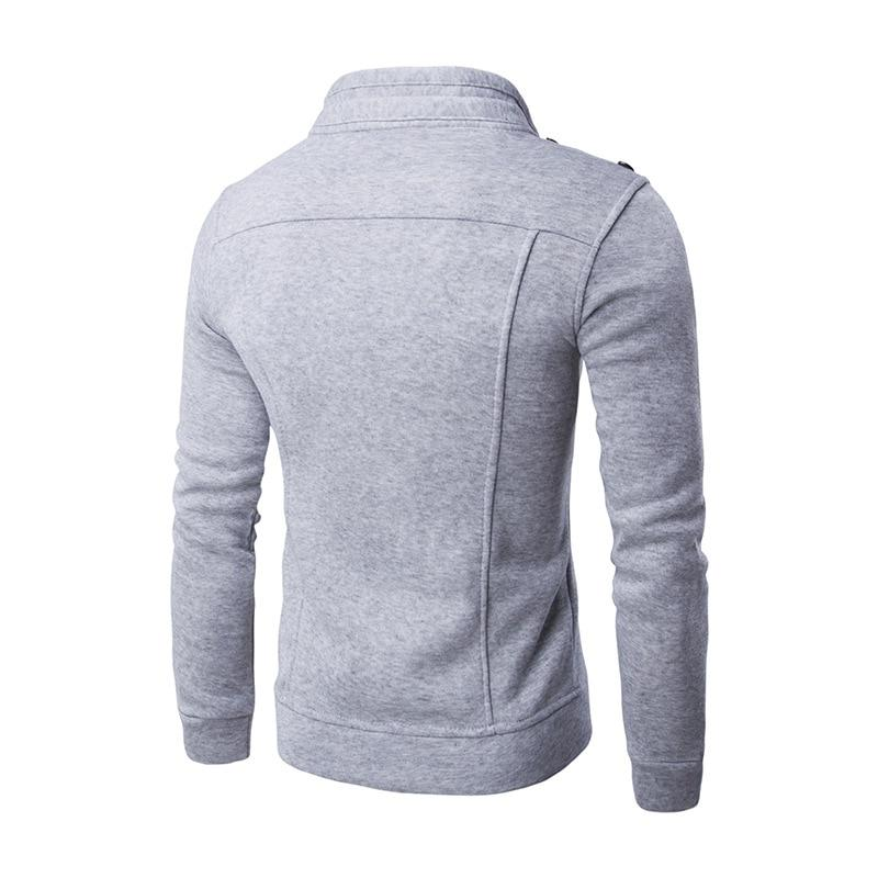 Men Cardigan Hoodies Solid Color Stand Collar Cotton Zipper Slim Fit Outerwear