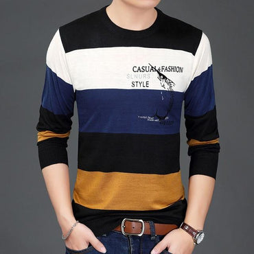 Men Casual Sweater O-Neck Striped Slim Fit Pullover Fashion Brand Design