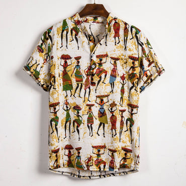 Men Linen Short Sleeve Floral Loose Baggy Casual Shirt