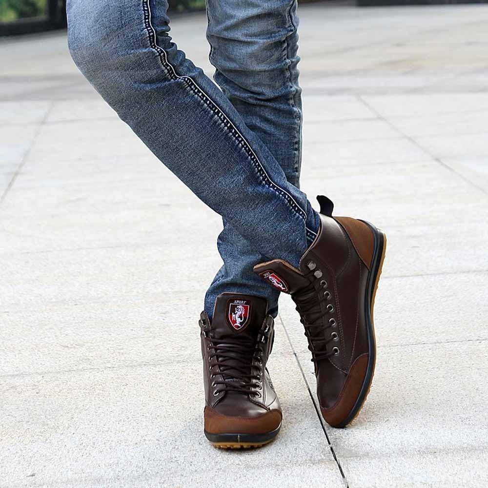 Men Leather Boots Fashion Warm Cotton Brand Designer Lace Up Ankle Boots