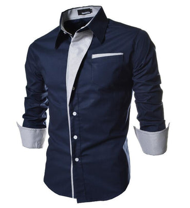 Men Brand Designer Cotton Slim Fit Long Sleeve Shirt