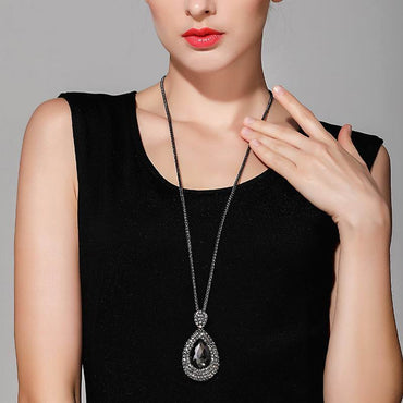 Women Shinning Water Drop Rhinestone Long Necklace