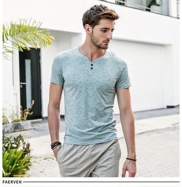 Men Brand Designer V-neck Casual Short Sleeve Tshirt