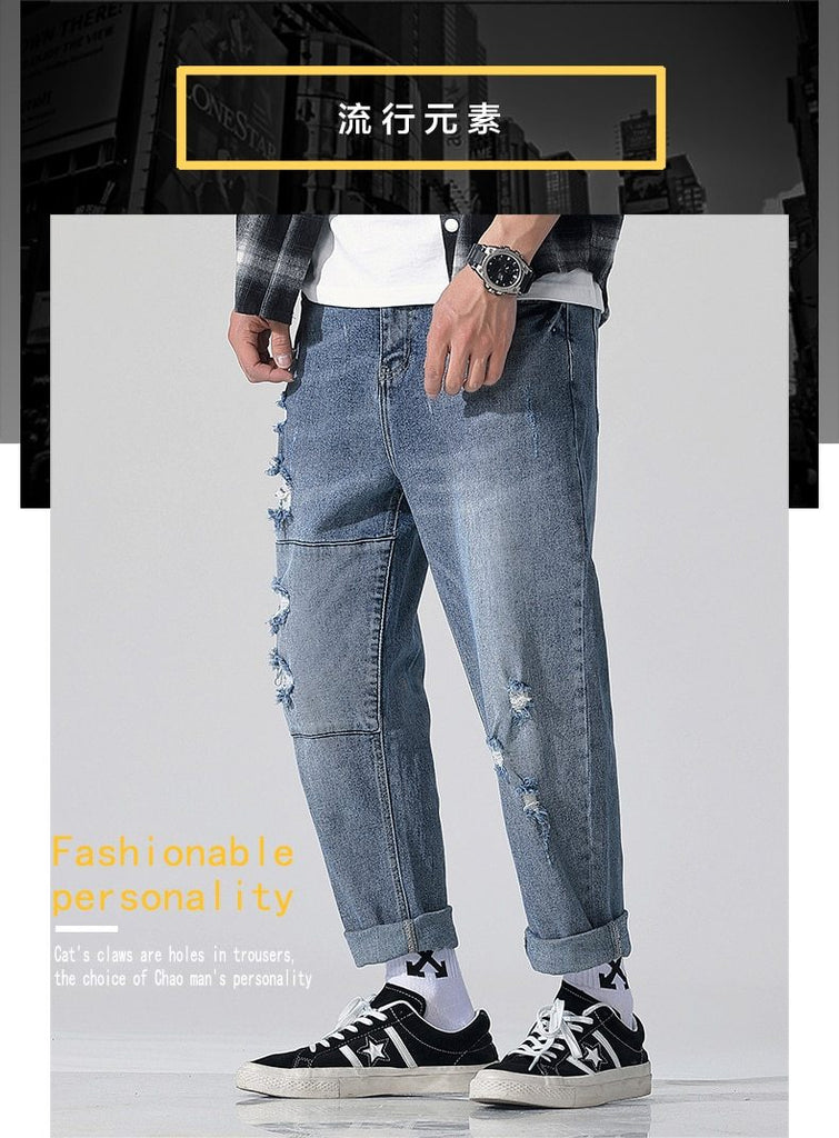 Super cool fashion men do old color washed loose High-end quality jeans
