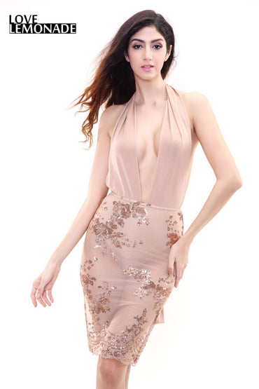 Nude Color Changeable Straps Flowers Sequines Party Dress
