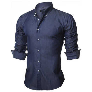 Men's Fashion Slim Fit Long sleeve Cotton Denim Shirt