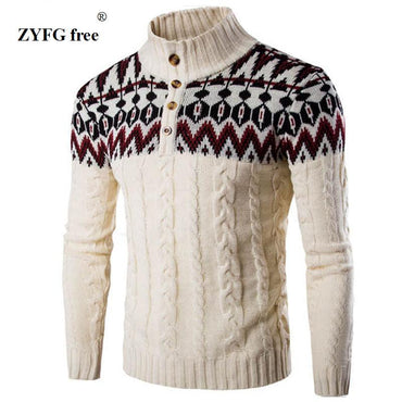 Men Sweater Winter Thick Warm Cashmere Slim Fit Classic Wool Knitwear