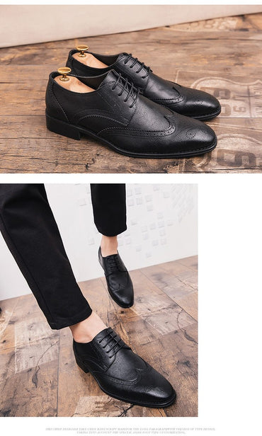 Men Dress Shoes British Designer Elegant Fashion Pointed Toe Leather Brogue Oxford Shoes