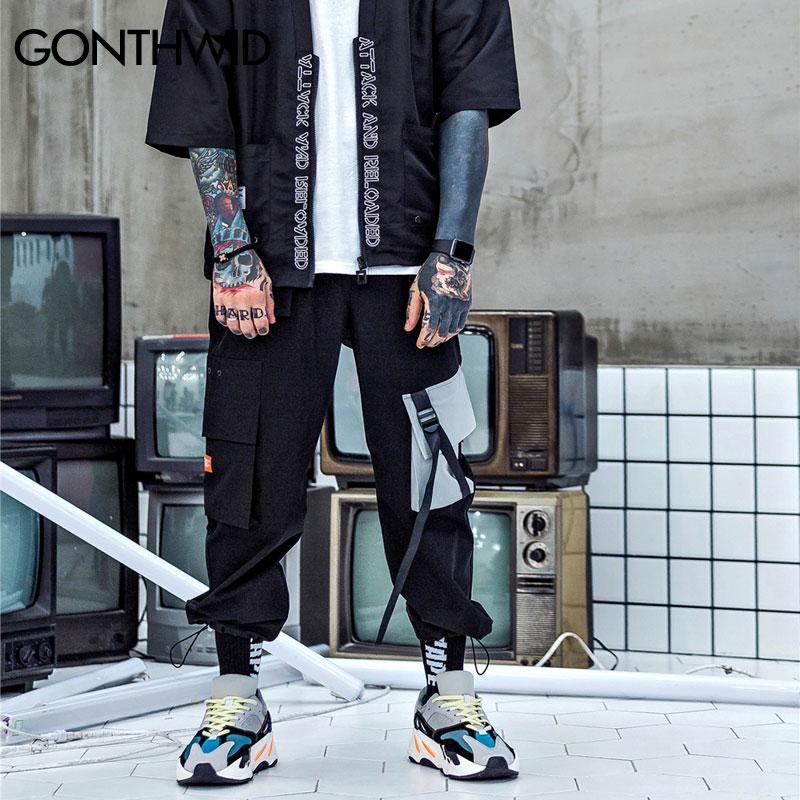 Men Cargo Harem Pants Casual Baggy Tactical Harajuku Streetwear Hip Hop Fashion Joggers