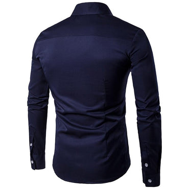 Men Fashion Design Long Sleeve Embroidery Pattern Cotton Shirt