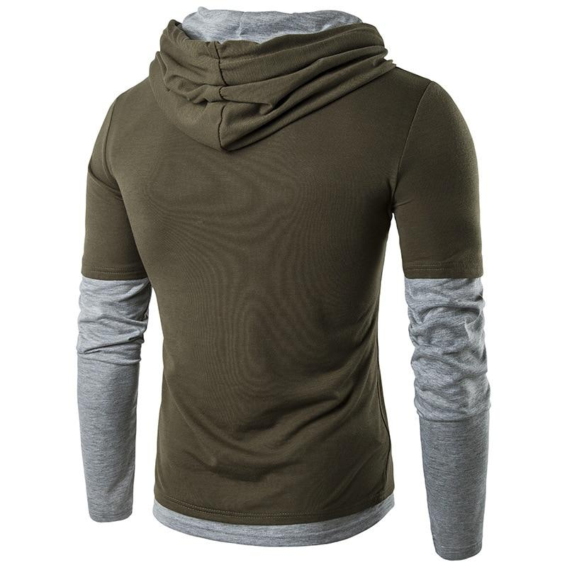 Men Hoodies New Fashion Long Sleeve Cotton Slim Fit Patchwork Hoodies