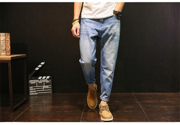 Brand Design Men Fashion Slim Fit Zipper Casual Jeans