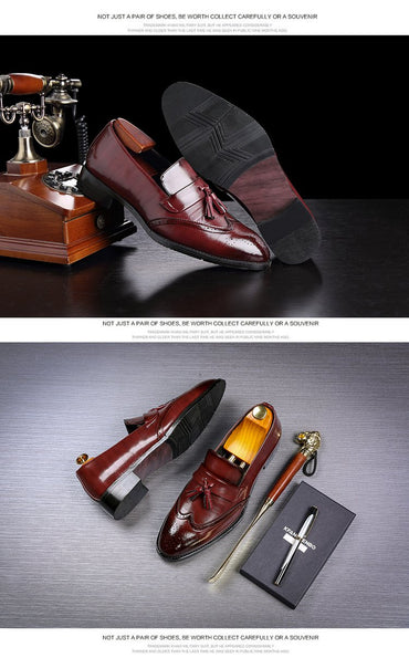 New Arrival Men Brogues Slip On Loafers British Style Vintage Tassel Dress Shoes