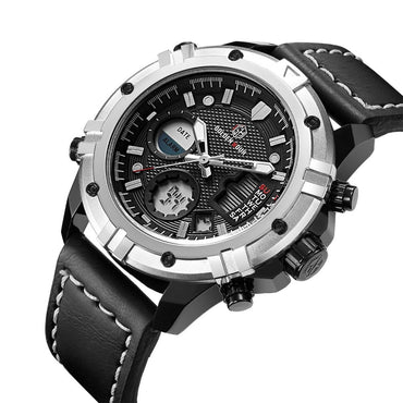 Men Military Quartz Dual Time Multifunction Fashion Sports Watches
