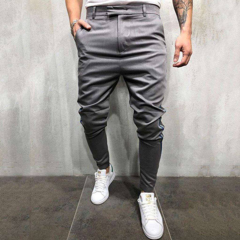 Fashion Men Casual Pants Loose Fit Cotton Chinos Trousers