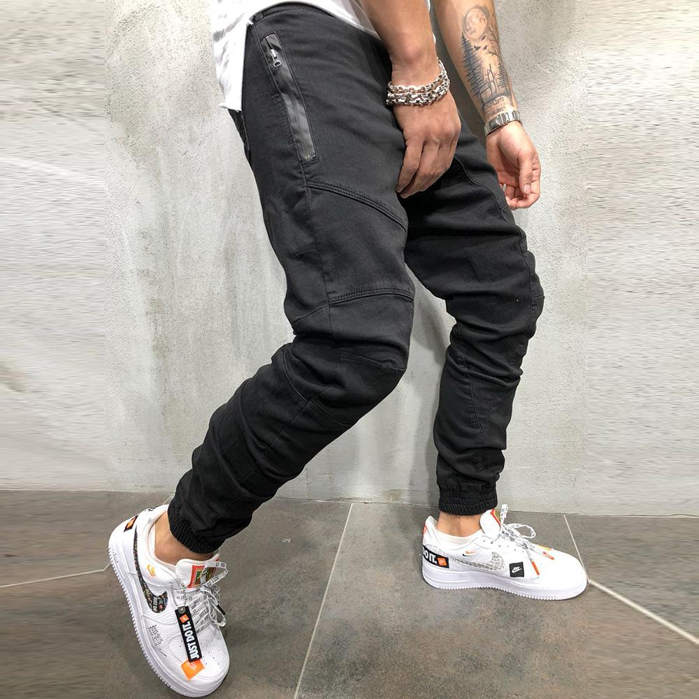 Men Fashion Zipper Splicing Harem Pants