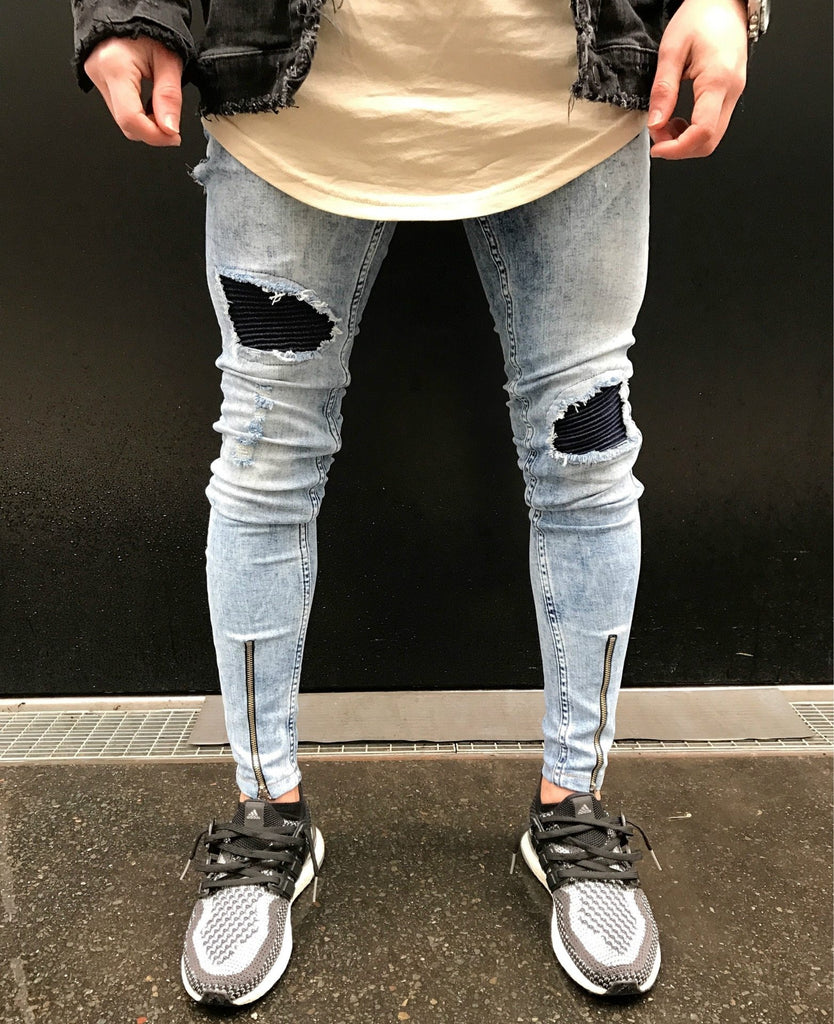 Men Jeans Stretch Destroyed Hole Ripped Design Fashion Ankle Zipper Skinny Jeans