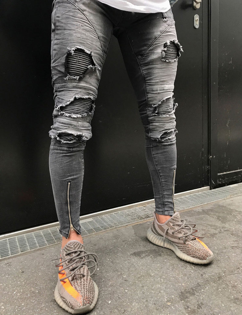 Cool Style Men Ripped Jeans Knee Holes High Street  Washed Destroyed Jeans