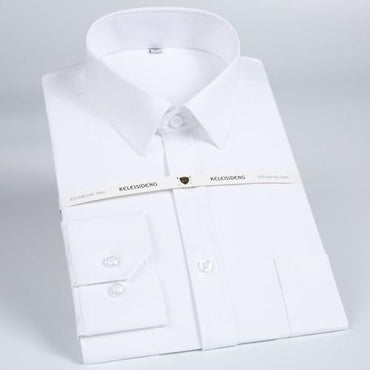 Men's Regular-fit Wrinkle-Free Solid Twill Dress Shirt