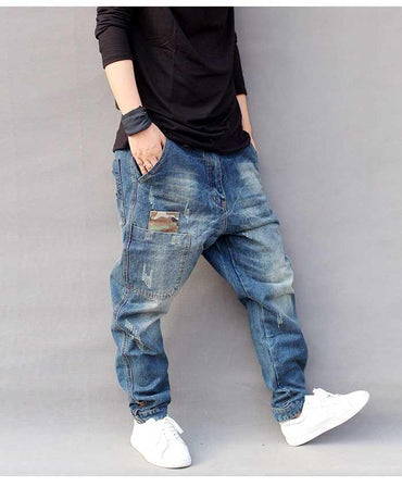 Men Jeans Hip Hop Harem Camouflage Patchwork Fashion Jeans