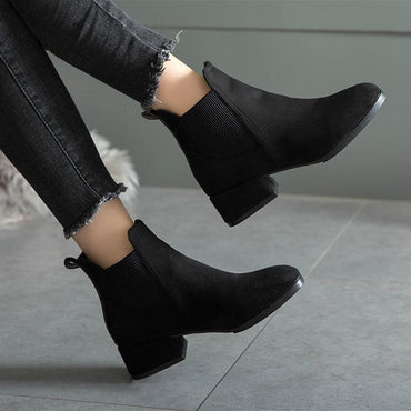 Women Ankle Boots Autumn Winter Flock Slip-on Round Toe Square Heel