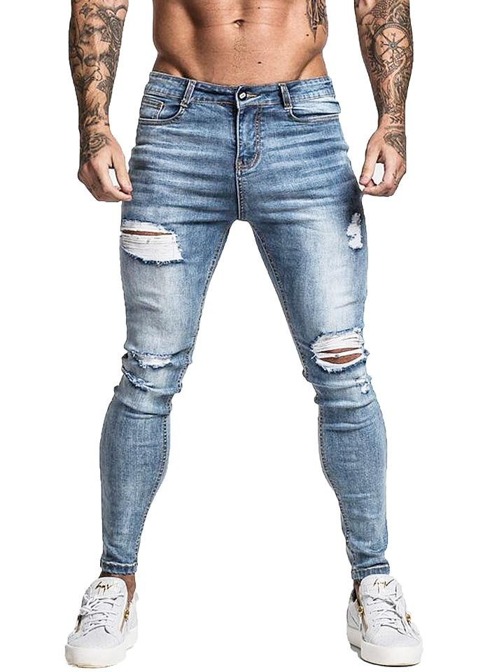 Skinny Jeans For Men Faded Blue Ripped Distressed Stretch Hip Hop Slim Fit Jeans