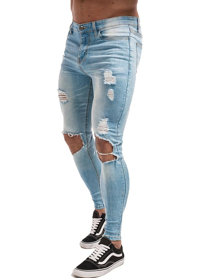 Men's Jeans Skinny Stretch Repaired Hip Hop Distressed Super Slim Fit