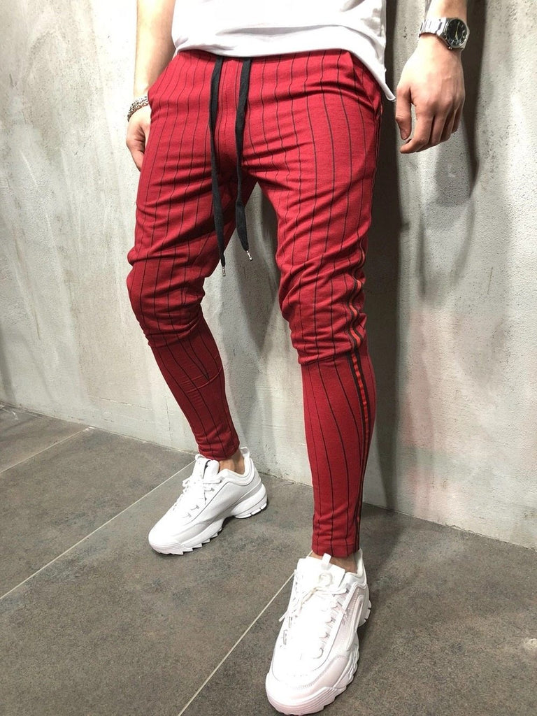 Hot trendy fashion men's casual sports stripe design jogging pants