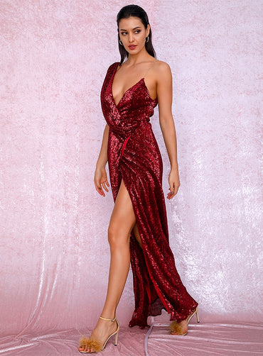 Sexy Deep V-Neck Whit Split Sequins Party Maxi Dress