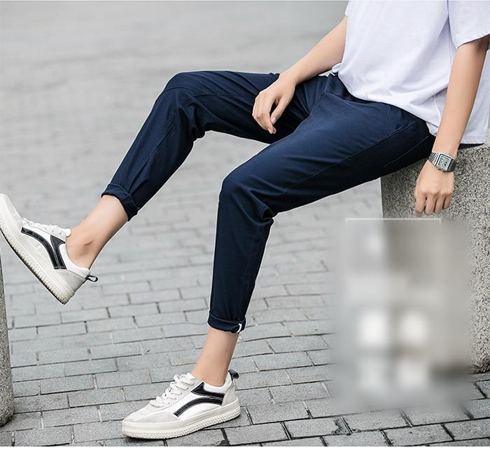 Men Casual Pants Cotton Slim Fit Chinos Ankle-Length Fashion Trousers