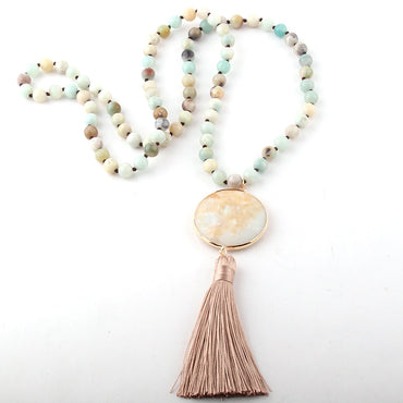 Women Bohemian Precious Stones Long Tassel Necklacee