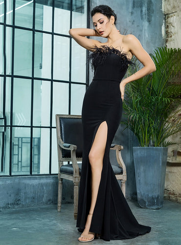 Luxury Black Strapless Cut Out Feather Long Dress