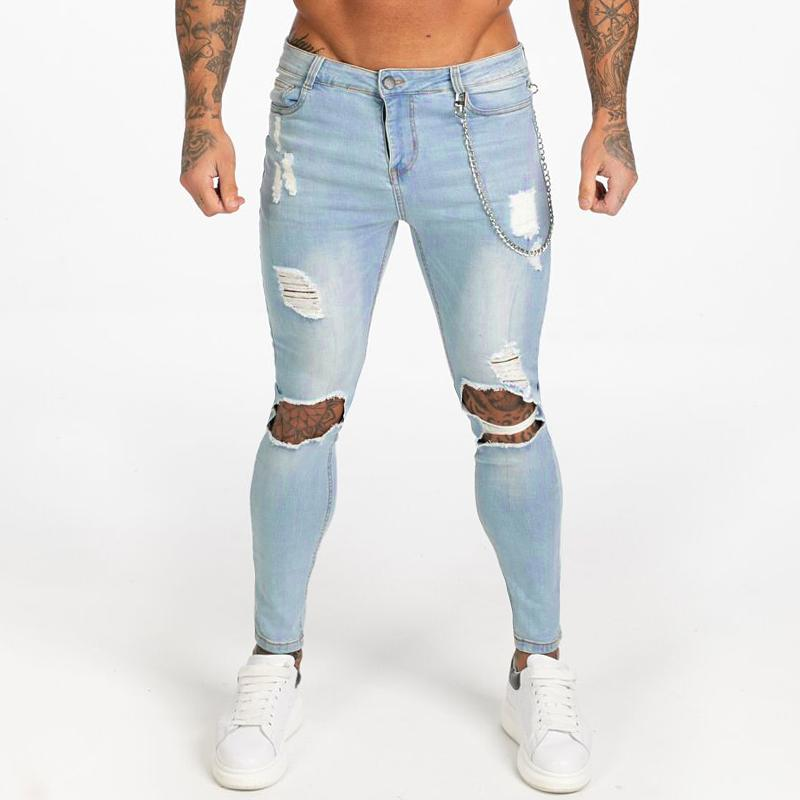 Men's Skinny Jeans Super Spray on Lightweight Cotton Ankle Tight Fit Ripped
